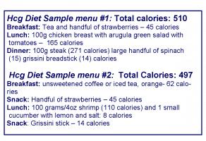 500 calorie hcg food menus