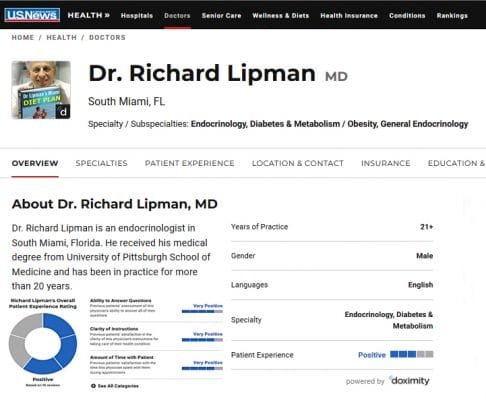 US News Review of Dr Richard Lipman MD