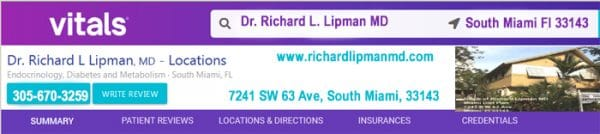 Vitals.com reviews of Dr Richard Lipman's medical office in South Miami, Fl