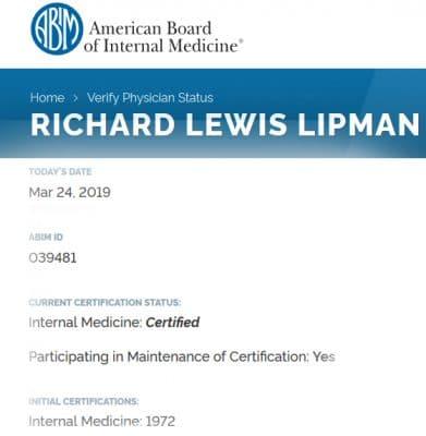 American board of internal medicine Dr Richard Lipman MD certification