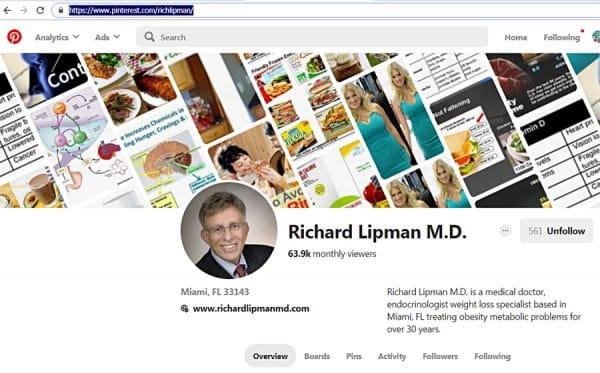 Pinterest posts and views of Dr Richard Lipman MD
