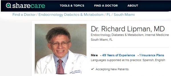 Sharecare.com reviews medical practice of Dr Richard L Lipman MD 33143