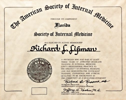 American Society of Internal Medicine certifies training and practice of Dr Richard L. Lipman MD